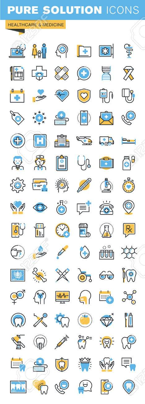 Set of thin line flat design icons of healthcare and medicine. Icons for websites, mobile websites and apps, easy to use and highly customizable. Stock Vector - 52884976