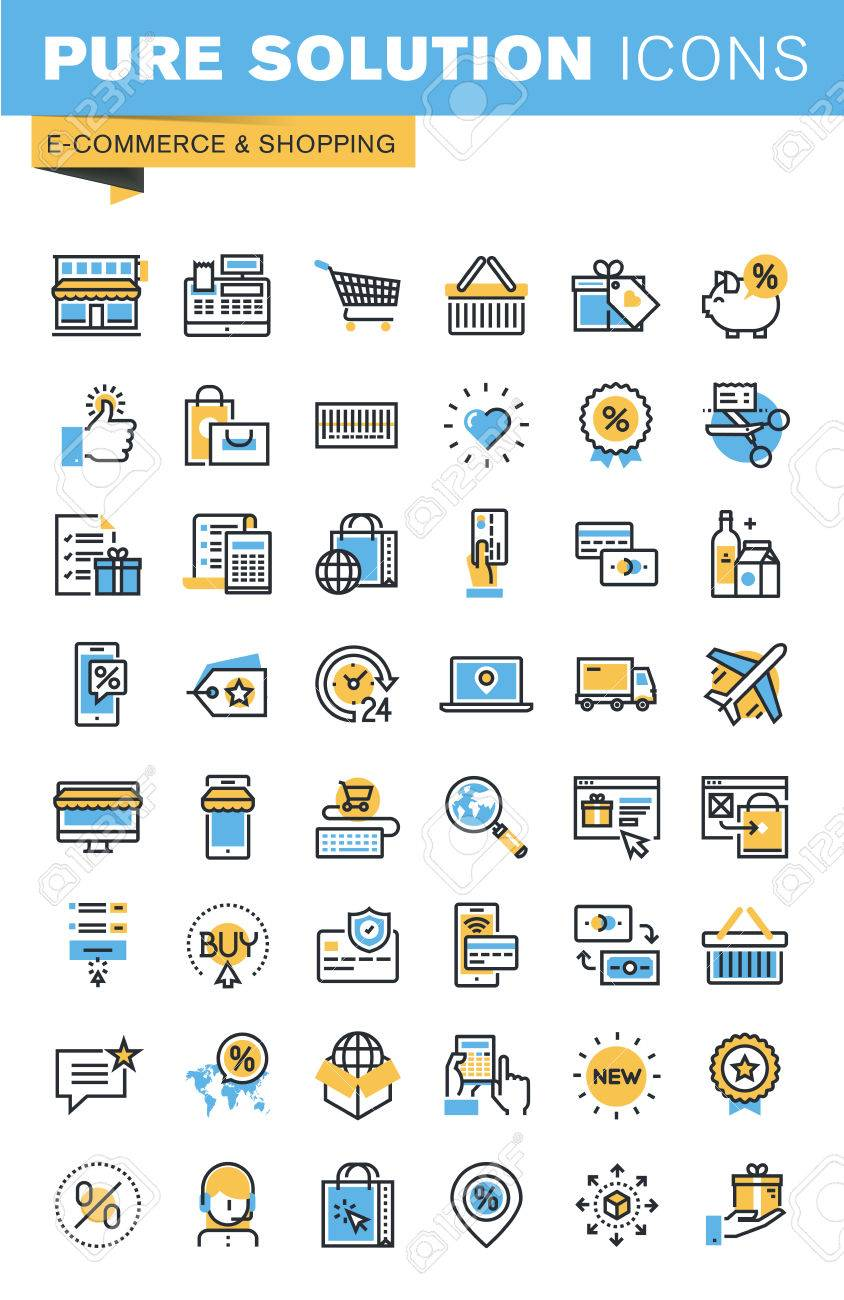 Set of thin line flat design icons of e-commerce and shopping. Icons for websites, mobile websites and apps, easy to use and highly customizable. Stock Vector - 52884980