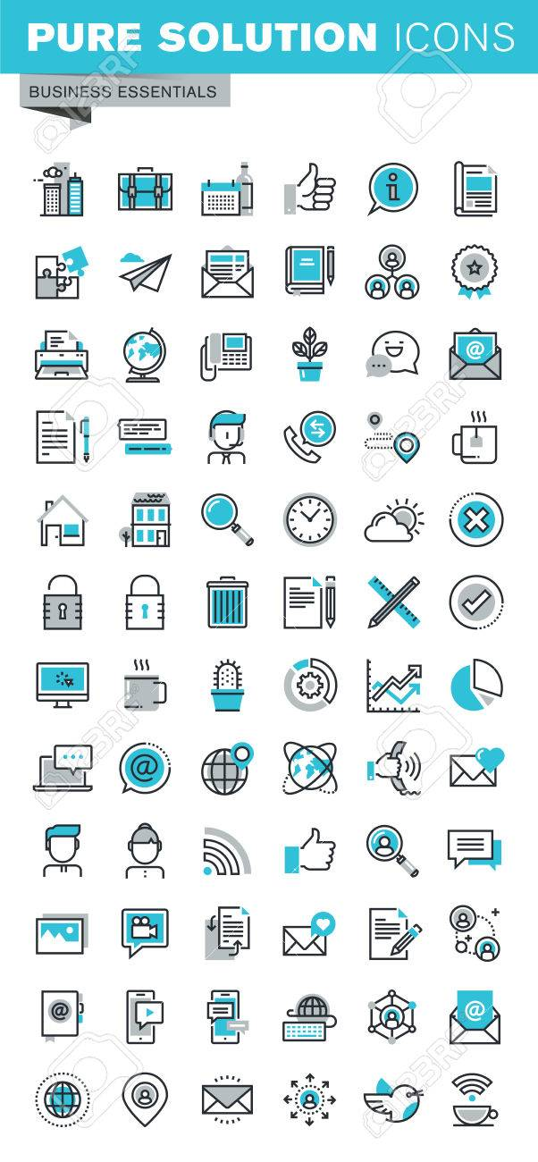 Modern thin line flat design icons set of business communication and technology, office items, internet advertising and security, basic company information. Outline icon collection for web graphic. - 53127323