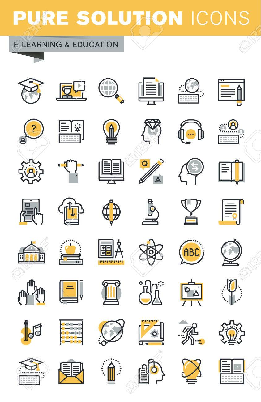 Set of modern vector thin line education icons. Modern vector logo pictogram and infographic design elements collection. Outline icon collection for website and app design. - 53316425