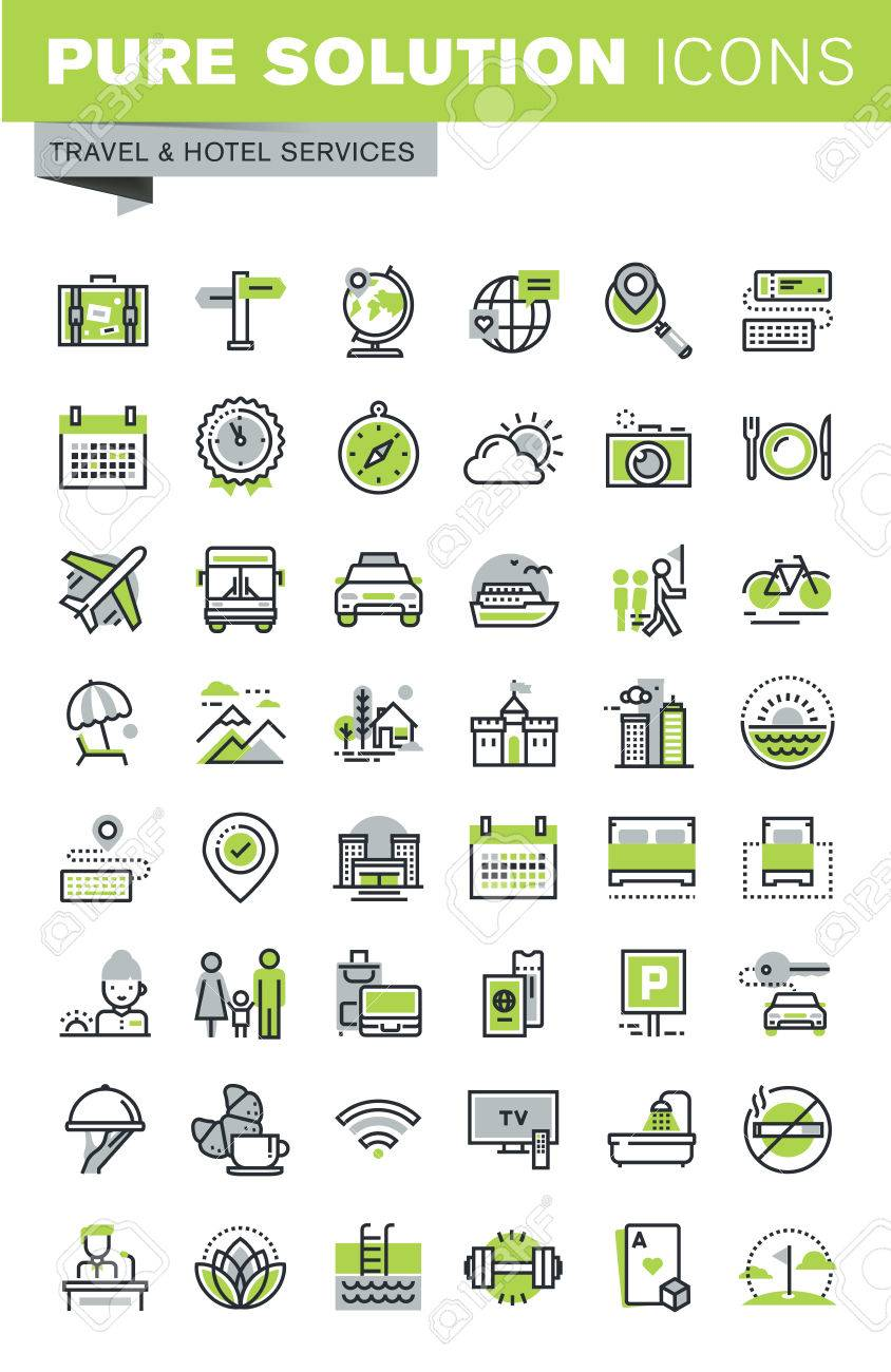 Thin line icons set of travel destination, hotel services, summer and winter vacation, booking, accommodation. Premium quality outline icon collection. Stock Vector - 54344017