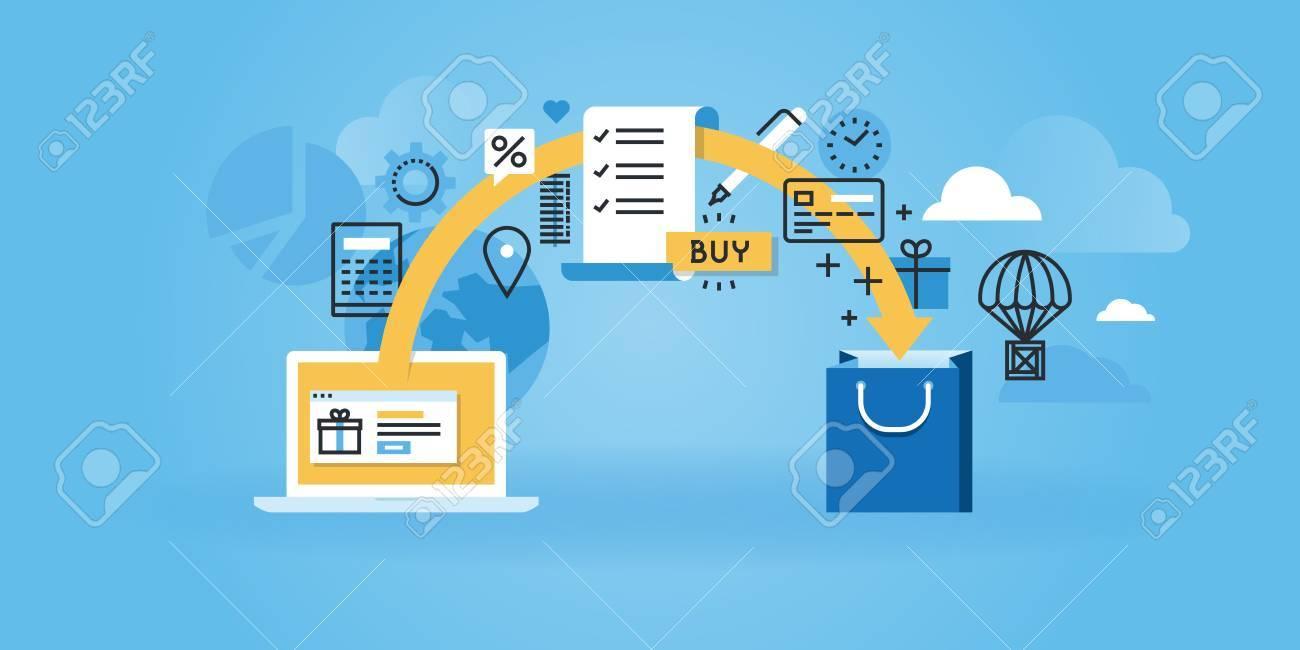 Flat line design website banner of e-commerce. Modern vector illustration for web design, marketing and print material. - 54344054