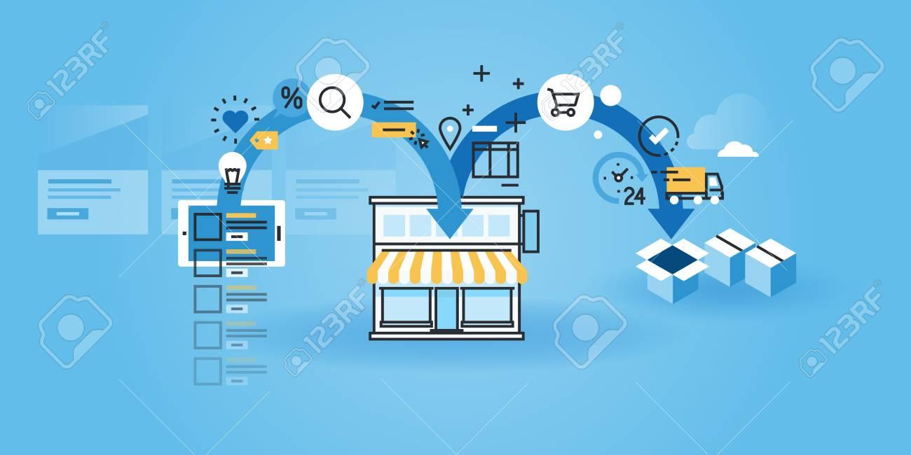 Flat Line Design Website Banner Of Online Shopping. Modern Vector ...