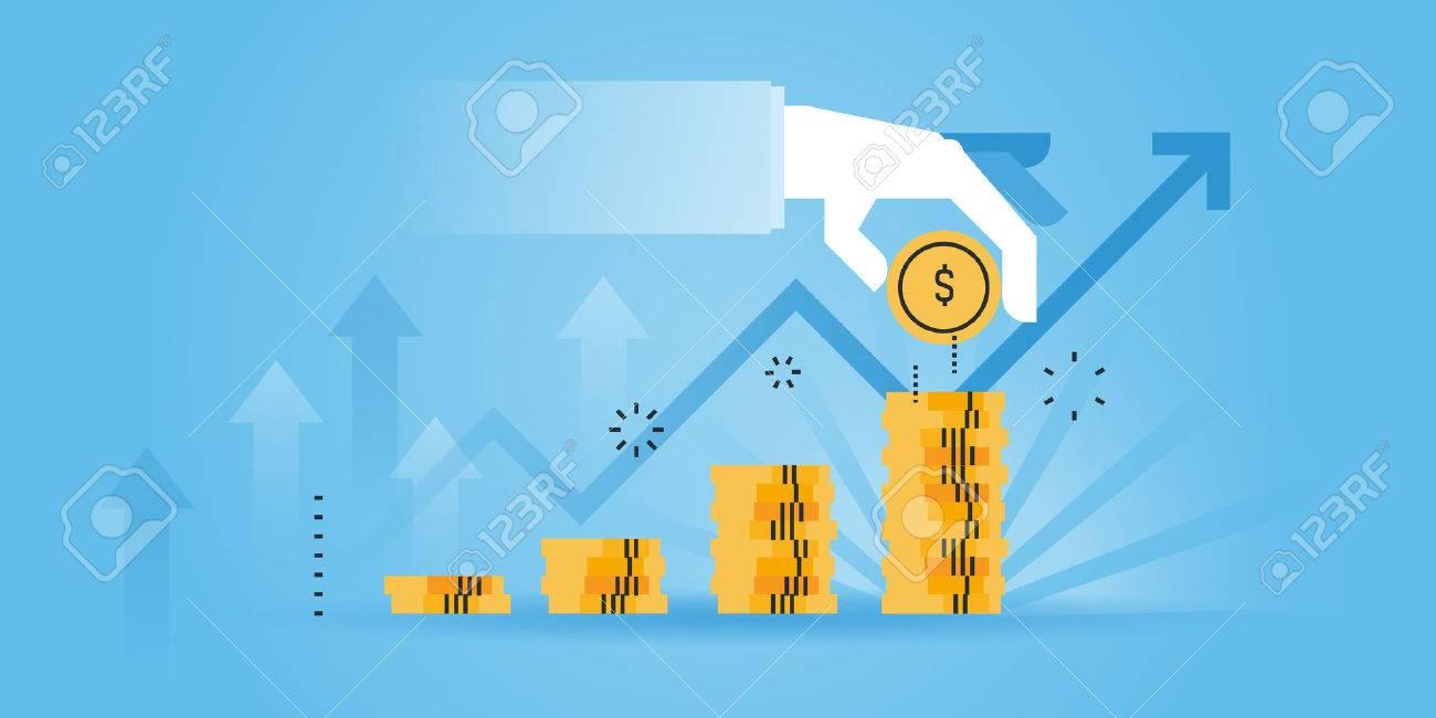 Flat line design website banner of investment, money savings. Modern vector illustration for web design, marketing and print material. Stock Vector - 54344133