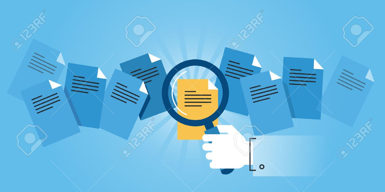 Flat line design website banner of document search. Modern vector illustration for web design, marketing and print material. Stock Vector - 54405551