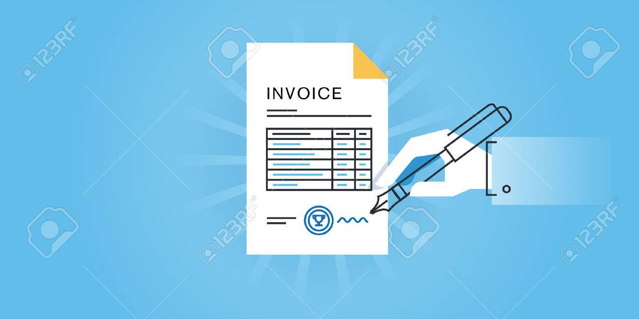 flat line design website banner for an invoice, online invoice, Invoice examples