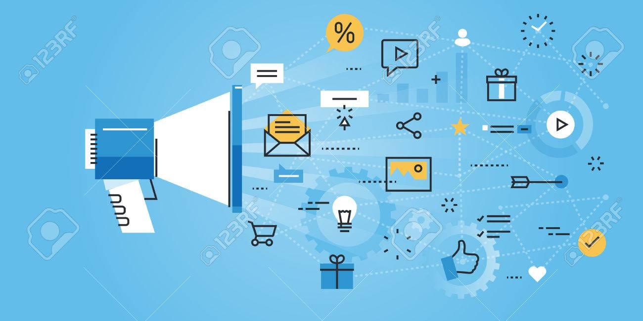flat line design website banner of social media modern vector