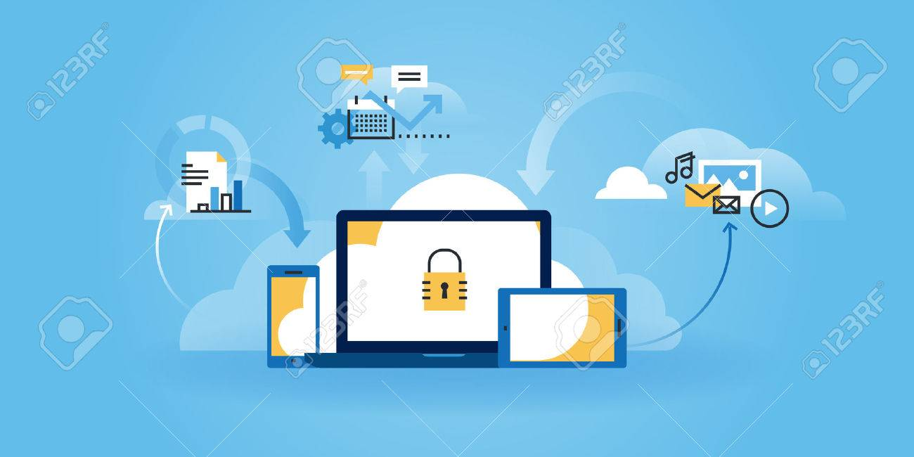Flat line design website of internet security, information security, data protection, cloud computing. Modern illustration for web design, marketing and print material. - 54598520
