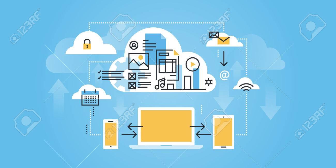 Flat line design website  of cloud computing. Modern illustration for web design, marketing and print material. Stock Vector - 54598522