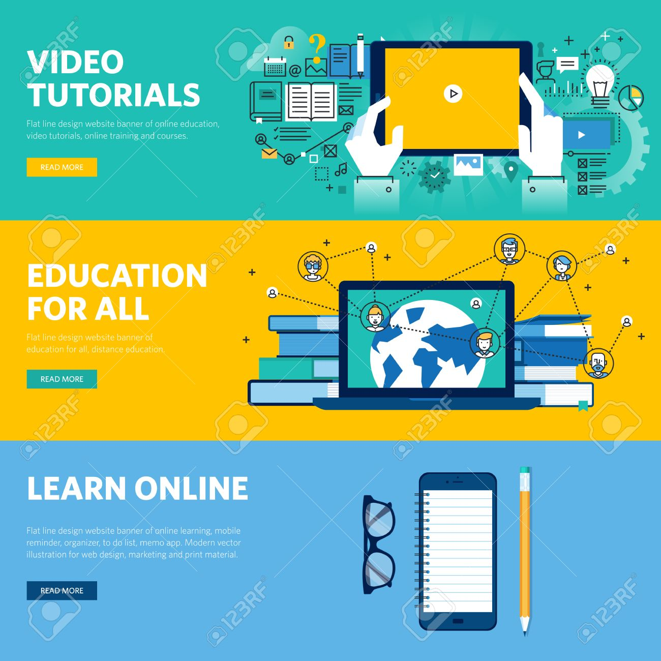 Set Of Flat Line Design Web Banners For Distance Education Online Royalty Free Cliparts Vectors And Stock Illustration Image 54612651