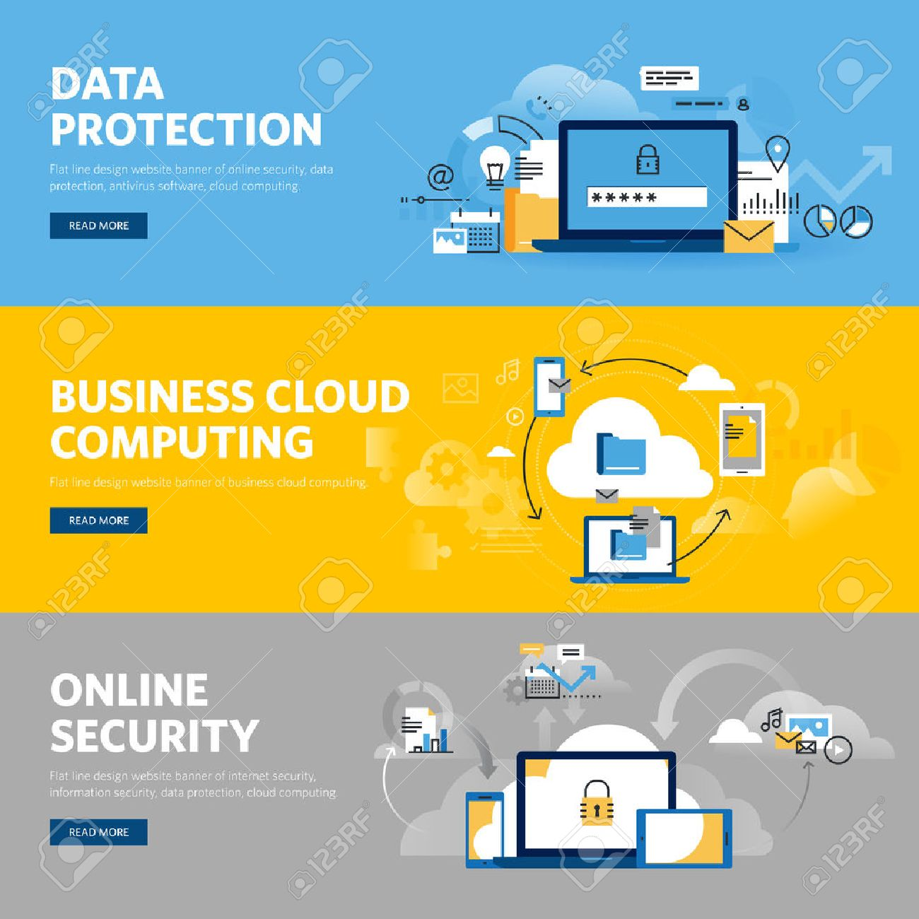 Set of flat line design web banners for data protection, internet security, antivirus software and services, business cloud computing. Vector illustration concepts for web design, marketing, and graphic design. Stock Vector - 54614319
