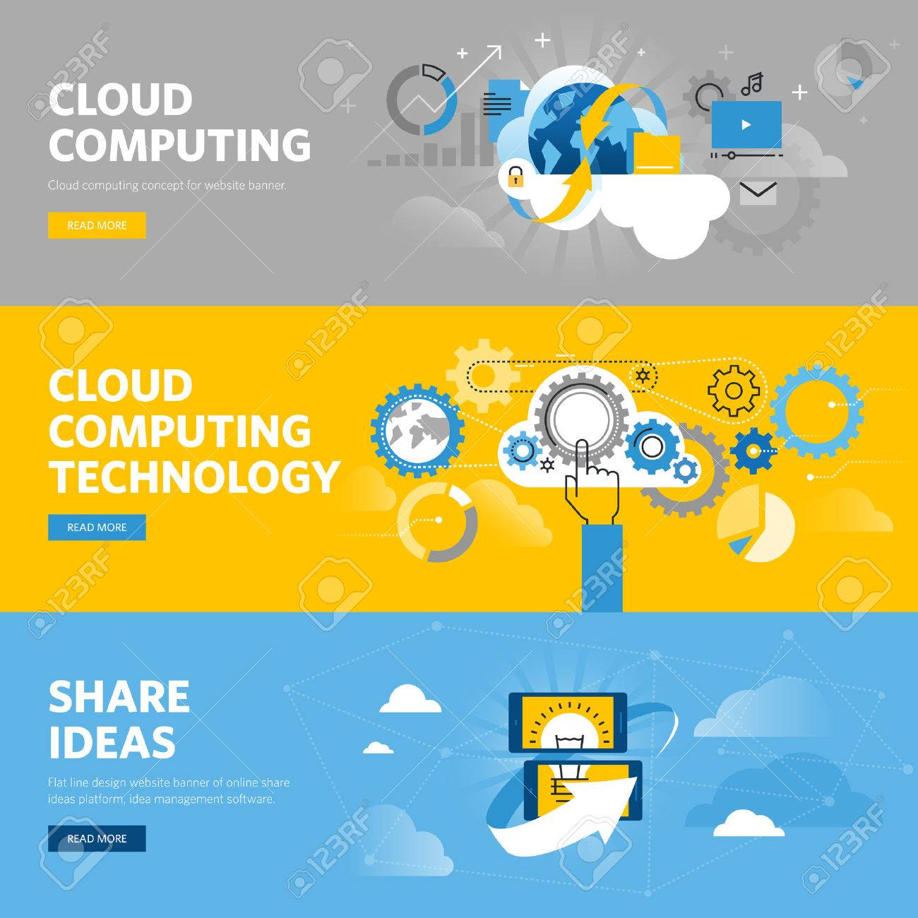 Set Of Flat Line Design Web Banners For Cloud Computing, Online ...