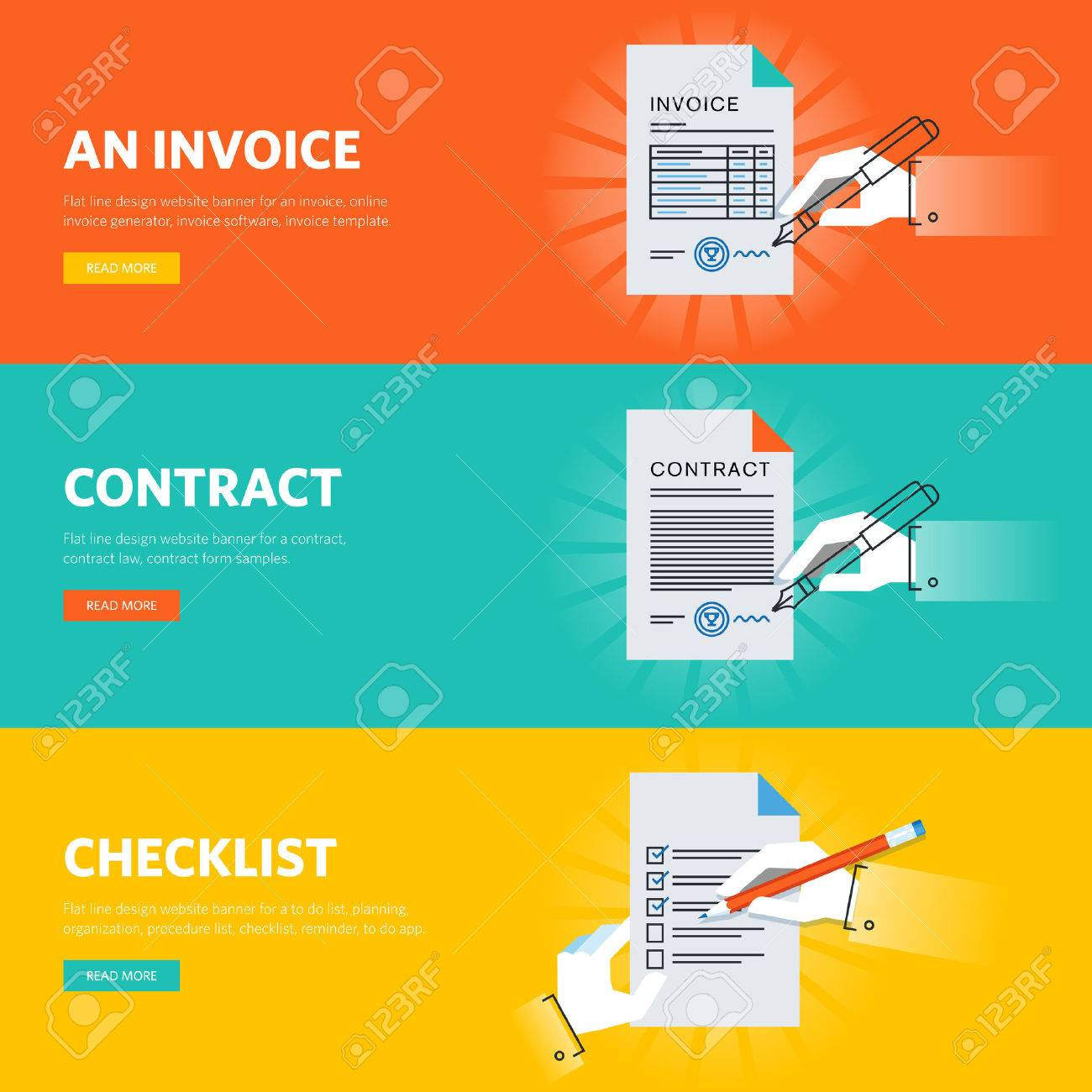 Set of flat line design web banners for business documentations, document form samples and templates, online document generator and app. - 54614320