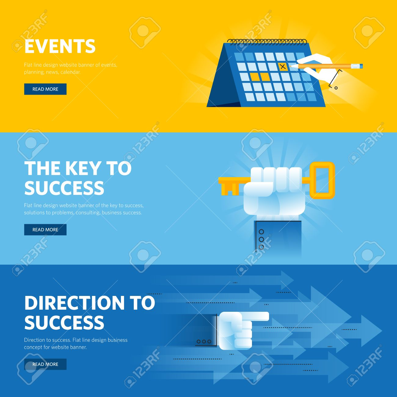 Free banner images for website - Set Of Flat Line Design Web Banners For Busisness Success Strategy Organization News