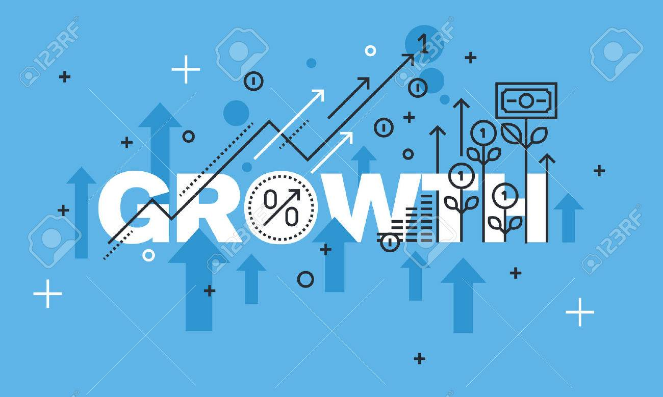 Modern thin line design concept for GROWTH website banner. Vector illustration concept for business success, financial results, banking, earnings growth and revenue, stock market. Stock Vector - 55847728