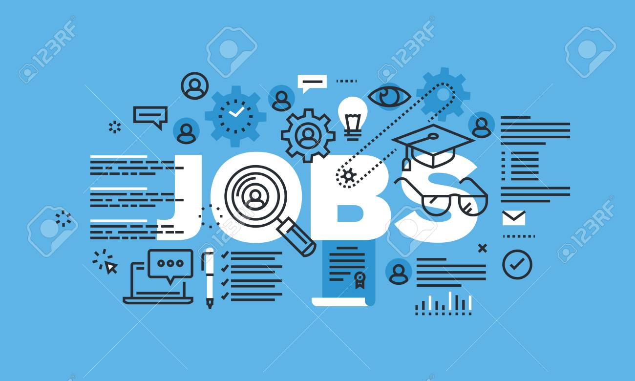 Modern Thin Line Design Concept For Jobs Website Banner Vector Royalty Free Cliparts Vectors And Stock Illustration Image 55847735