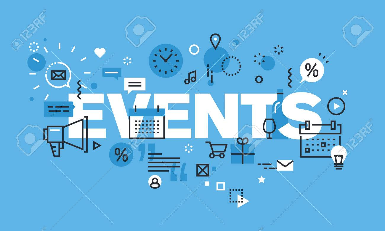 Modern Thin Line Design Concept For Events Website Banner Vector Royalty Free Cliparts Vectors And Stock Illustration Image 55848269