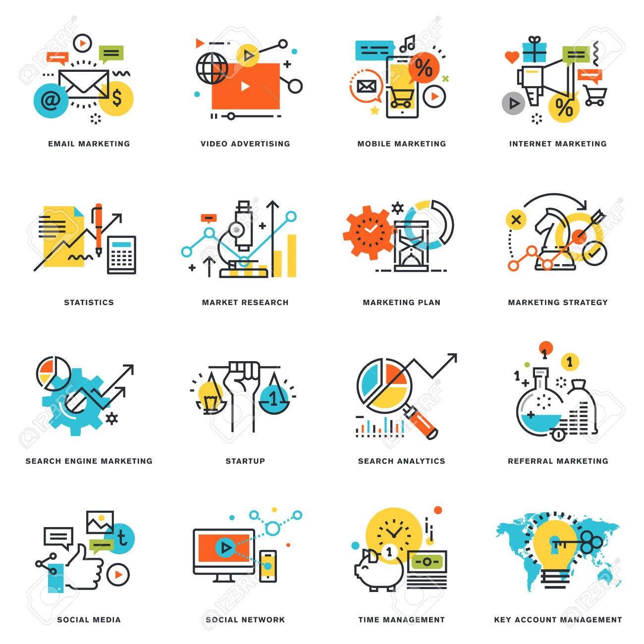 Set of flat line design icons of internet marketing and online business. Vector illustration concepts for graphic and web design and development, isolated on white. - 56755838