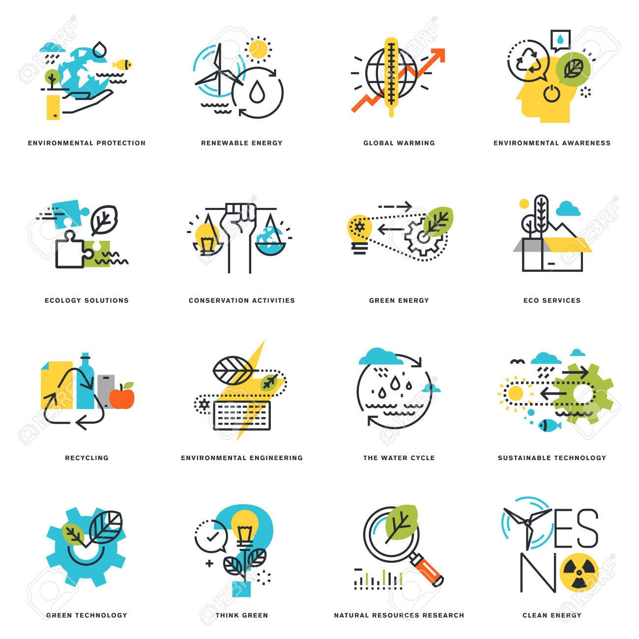 Set of flat line design icons of nature, ecology, green technology and recycling. Vector illustration concepts for graphic and web design and development, isolated on white. - 56755843