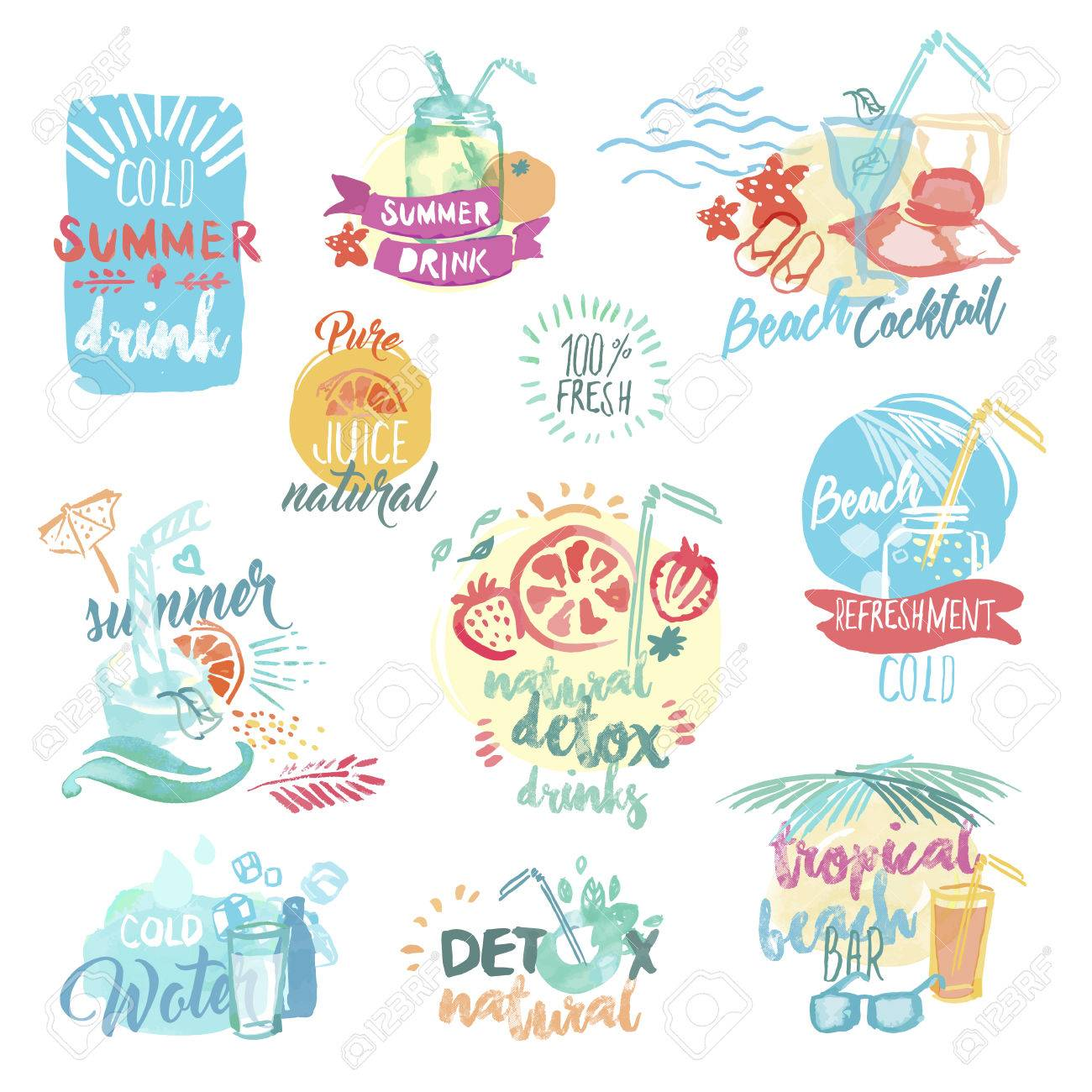 Set of hand drawn watercolor labels and badges of fresh fruit juice and drinks. Vector illustrations for menu, food and drink, restaurant and bar, summer refreshment, cocktail bar, organic fruit, summer holiday. - 56755853