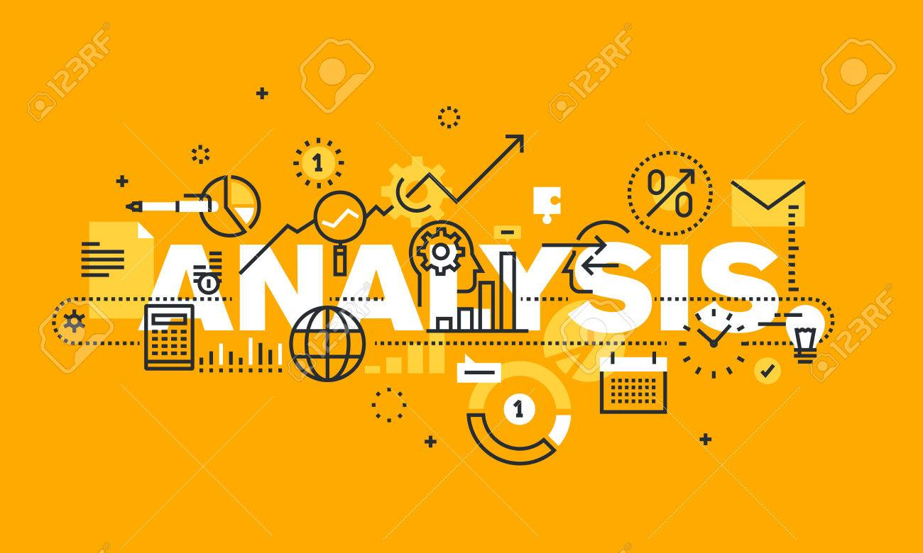 Thin line flat design banner for ANALYSIS web page, financial analysis, accounting, products and services development, business control. Modern vector illustration concept of word ANALYSIS for website and mobile website banners. - 56755935