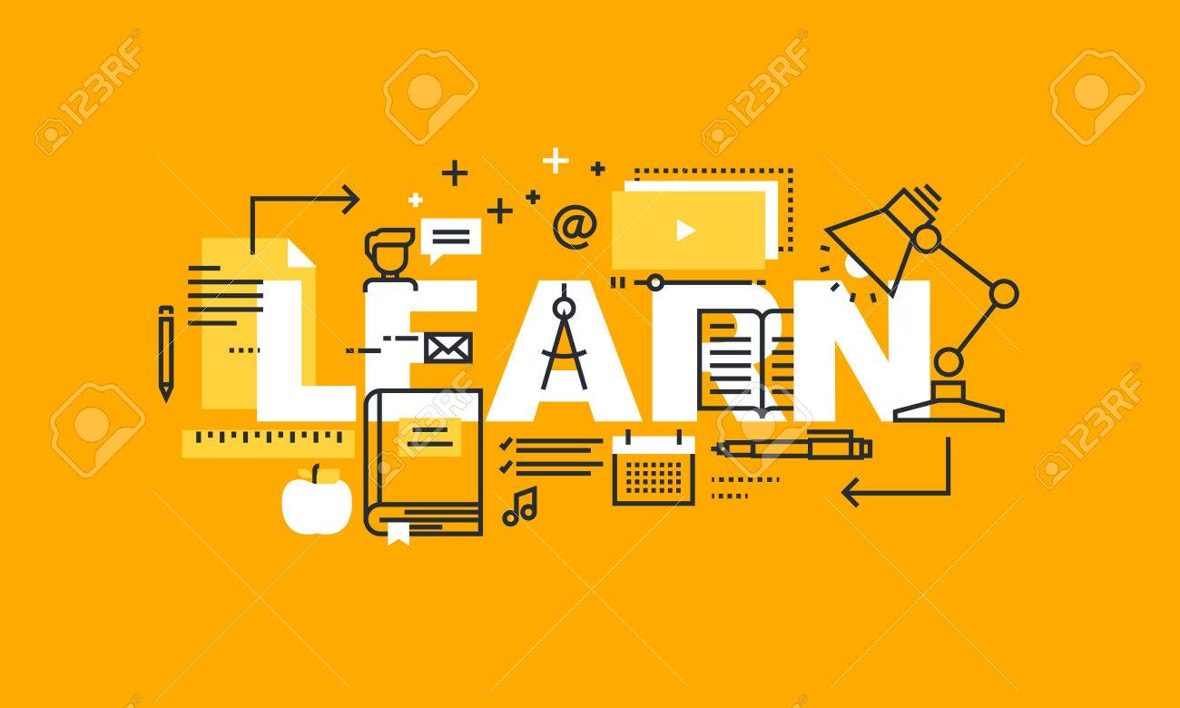 Thin Line Flat Design Banner For Learn Web Page Learning Distance Royalty Free Cliparts Vectors And Stock Illustration Image 56755944
