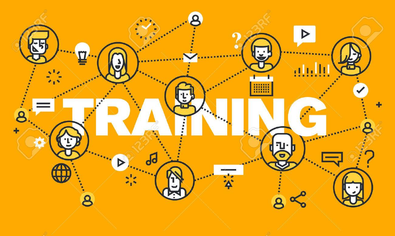 Thin line flat design banner for TRAINING web page, online education, courses, networking, video tutorials, staff training. Modern vector illustration concept of word TRAINING for website and mobile website banners. - 56755946