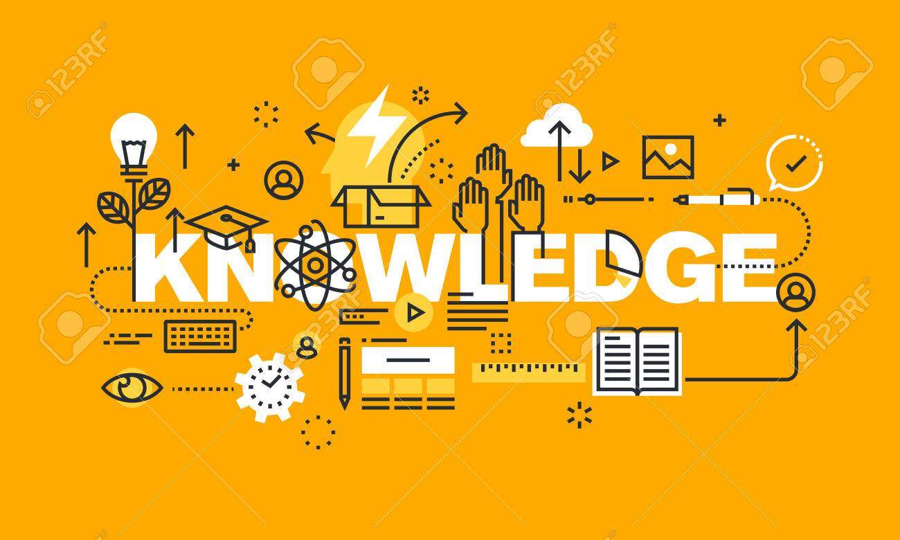 Thin line flat design banner for KNOWLEDGE web page, education, investment in the future, the choice of profession, Modern vector illustration concept of word KNOWLEDGE for website and mobile website banners. - 56755951