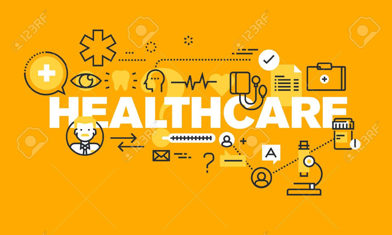 Thin line flat design banner for HEALTHCARE web page, medical support, healthcare insurance, diagnosis and treatment. Modern vector illustration concept of word HEALTHCARE for website and mobile website banners. Stock Vector - 56755962