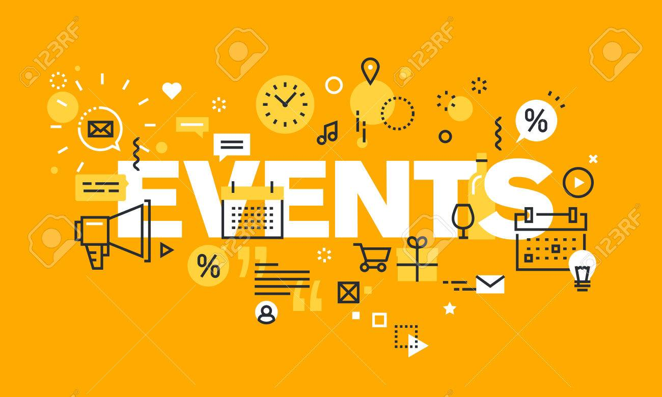 Thin Line Flat Design Banner For Events Web Page Calendar Planning Royalty Free Cliparts Vectors And Stock Illustration Image 56755967