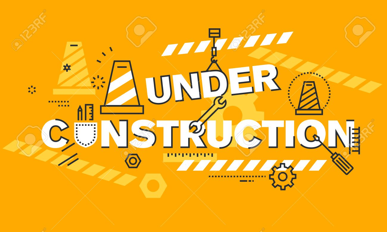 Thin Line Flat Design Banner For Under Construction Web Page