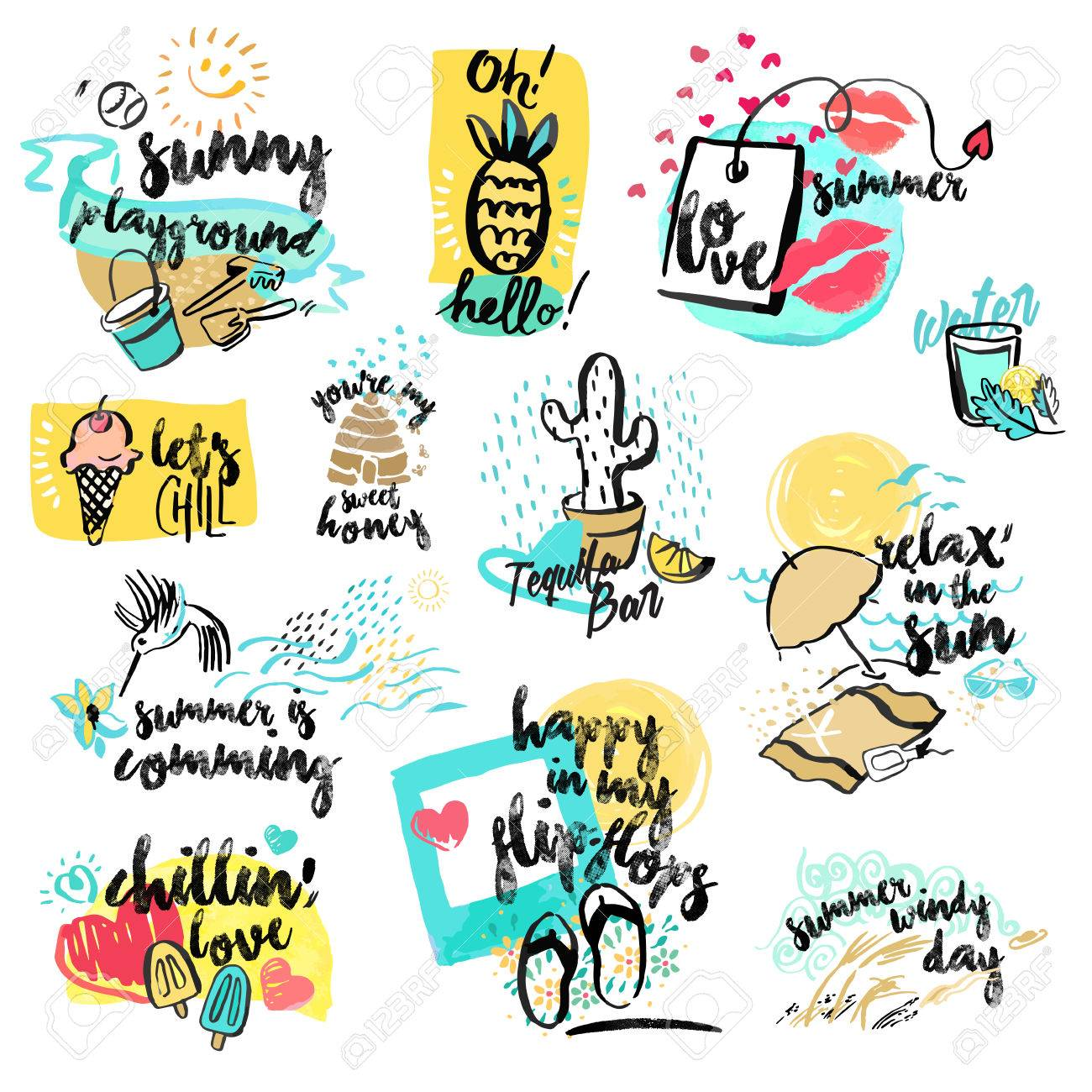 Set of hand drawn watercolor signs of summer. Vector illustrations for summer holiday, travel and vacation, restaurant and bar, menu, sea and sun, beach vacation and party. - 56755971