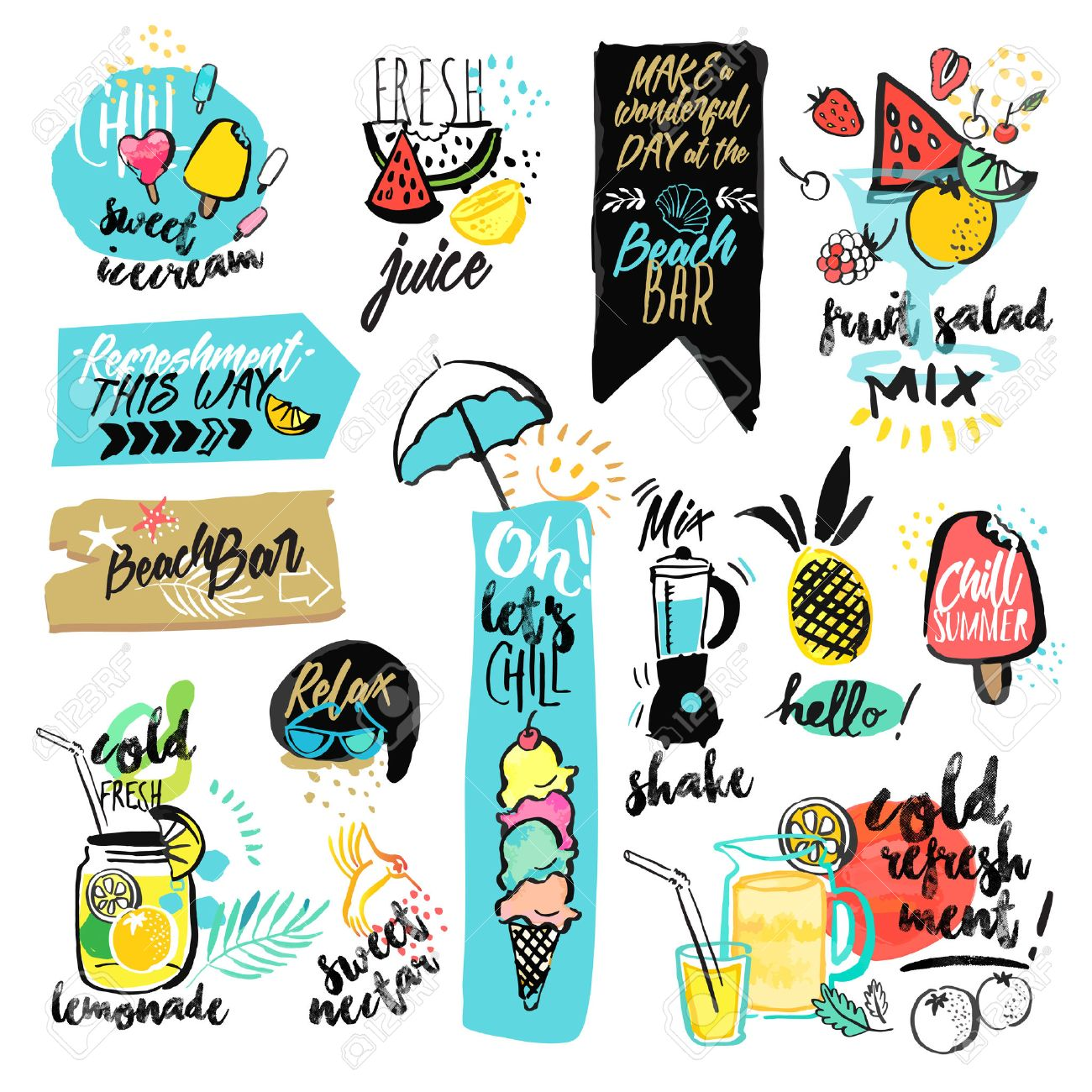 Set of hand drawn watercolor ribbons and stickers of summer. Vector illustrations for summer holiday, travel and vacation, restaurant and bar, menu, sea and sun, beach vacation and party. Stock Vector - 56755972