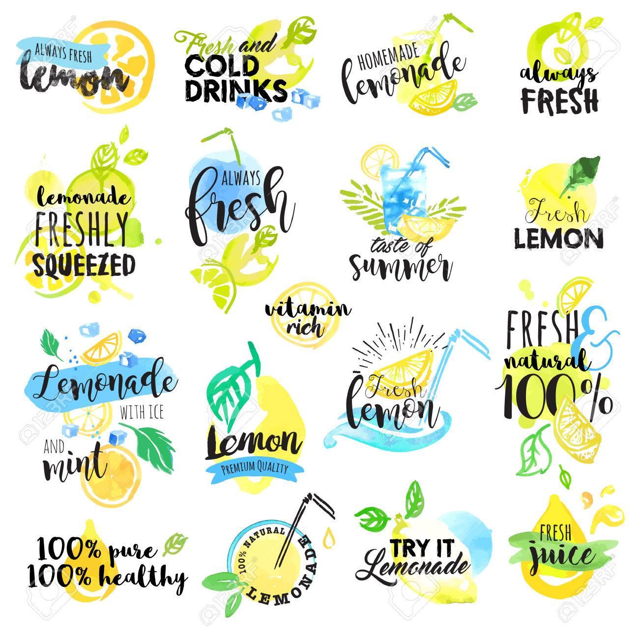 set of hand drawn watercolor labels and signs of lemon and lemonade
