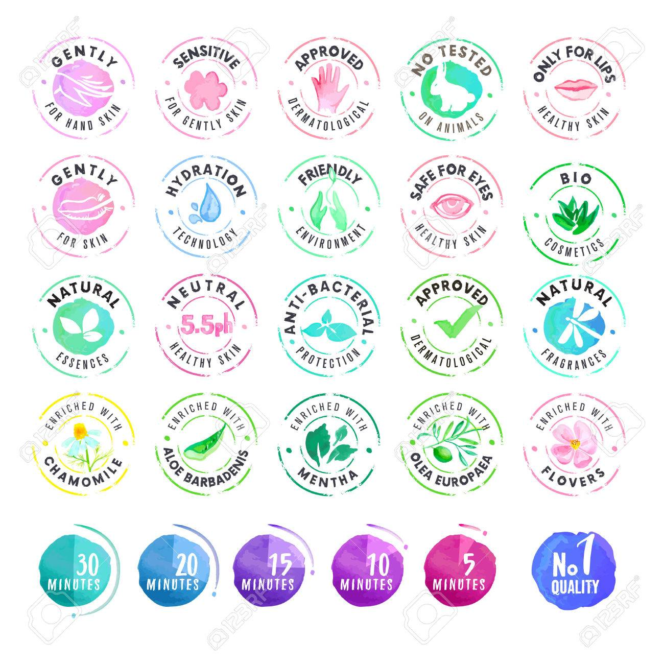 Set of hand drawn watercolor stickers for cosmetics vector illustrations for graphic and web design
