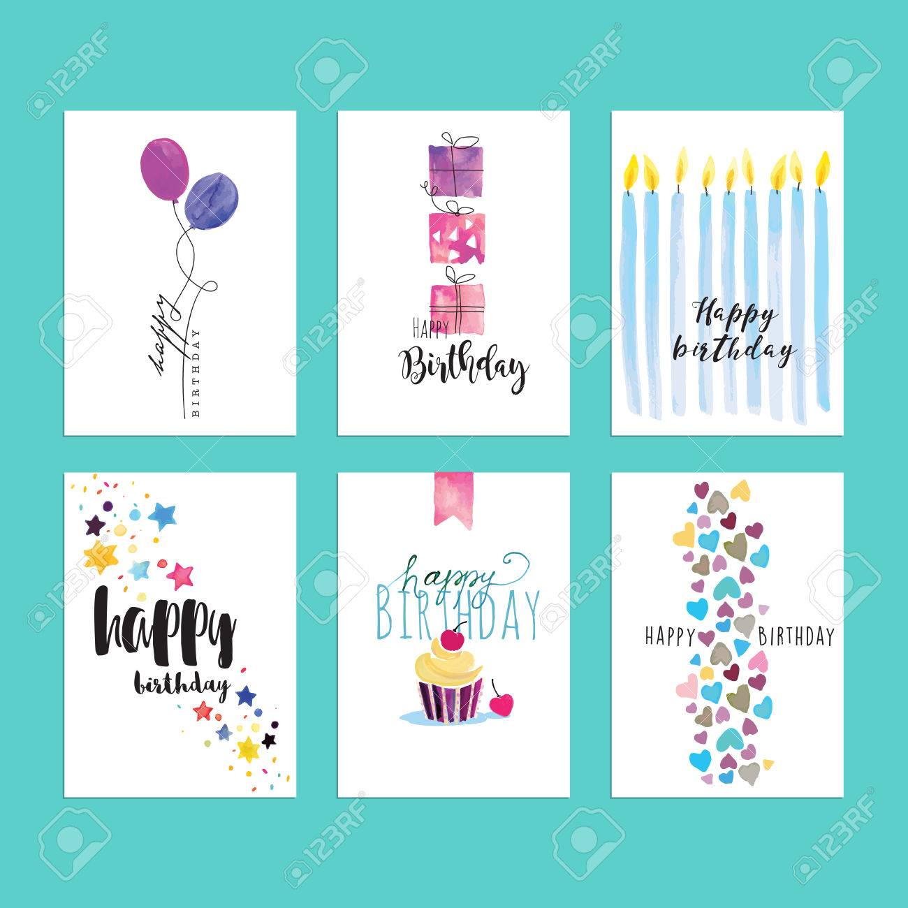 set of birthday greeting card templates hand drawn watercolor