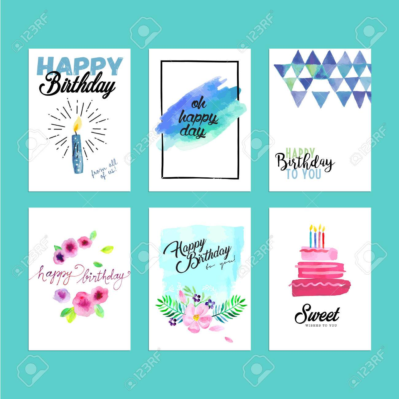 Collection of modern design birthday greeting cards. Hand drawn..