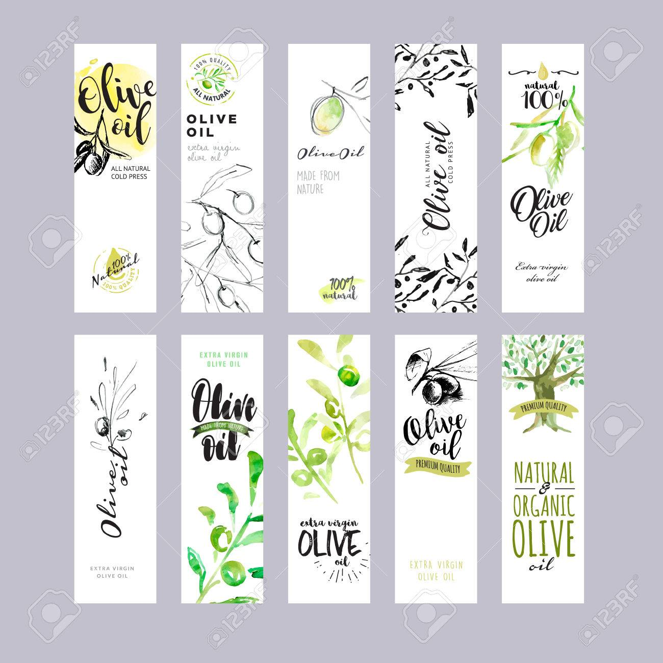 Hand drawn watercolor olive oil labels collection. - 58943648