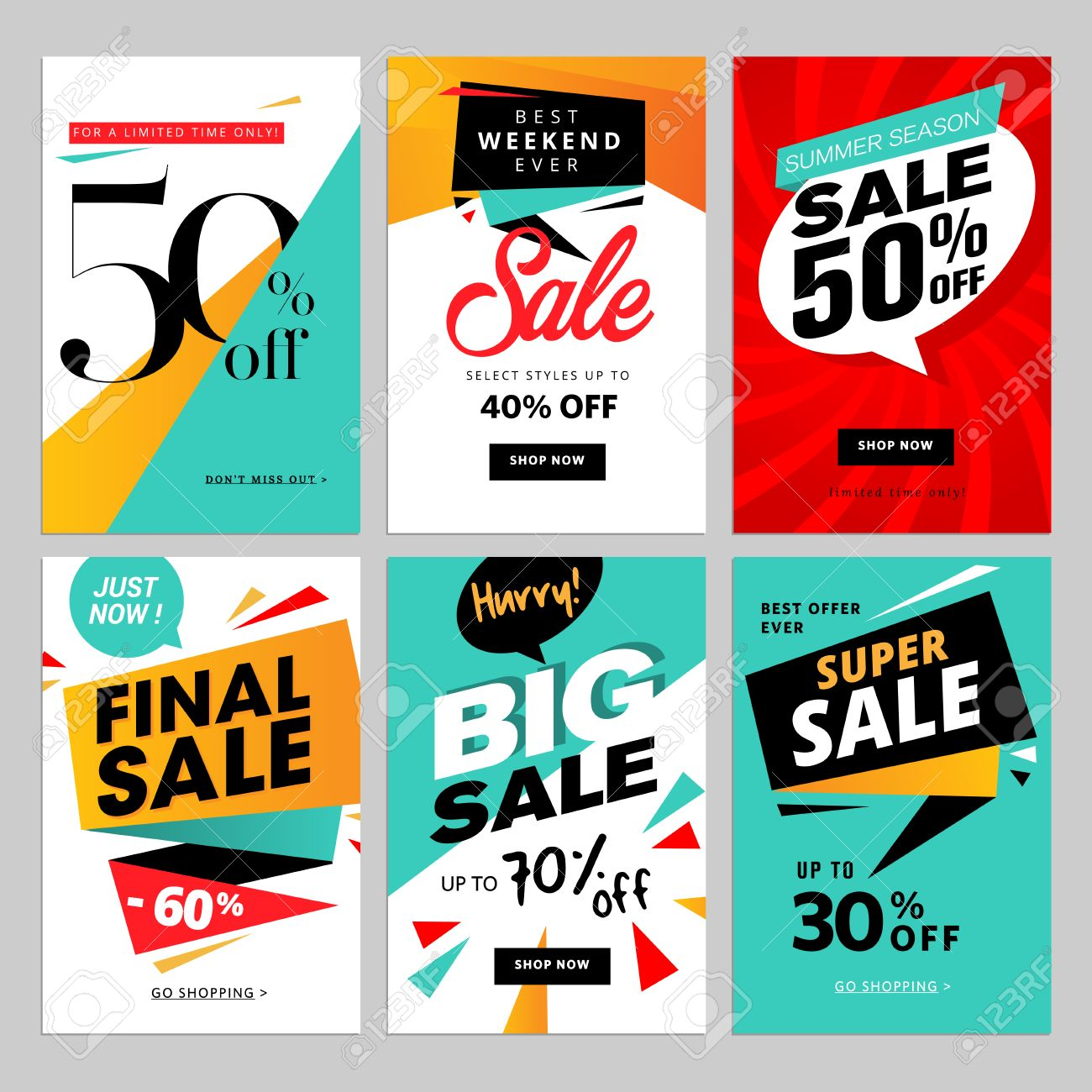 Flat design eye catching sale website banners for mobile phone. - 60002332