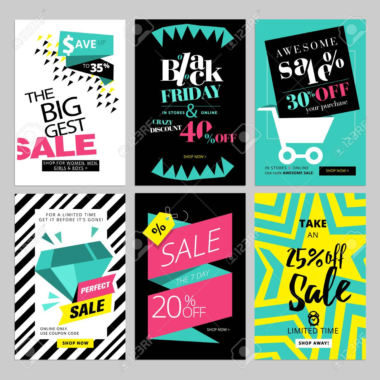 set of eye catching web banners for shopping sale product