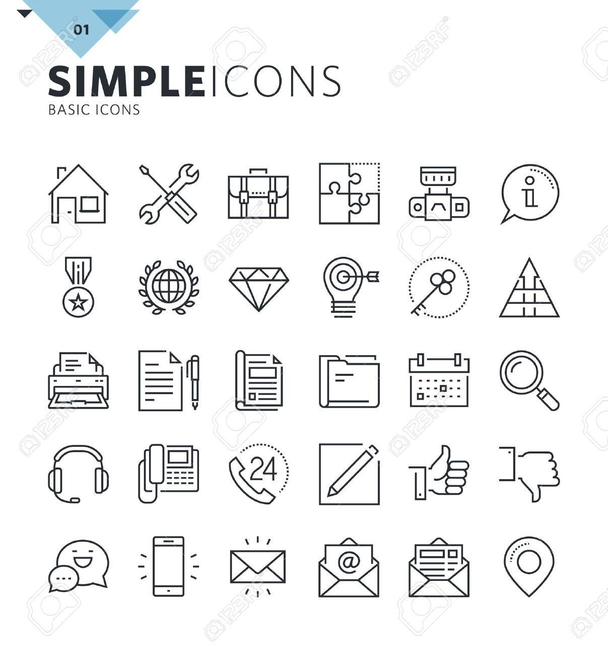 Modern thin line basic web icons. Premium quality outline symbol collection for web and graphic design, mobile app. Mono linear pictograms, infographics and web elements pack. - 60381066