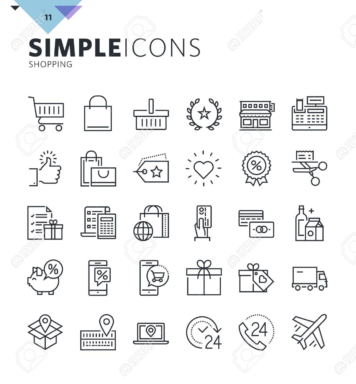 Modern thin line shopping web icons. Premium quality outline symbol collection for web and graphic design, mobile app. Mono linear pictograms, infographics and web elements pack. - 60381070