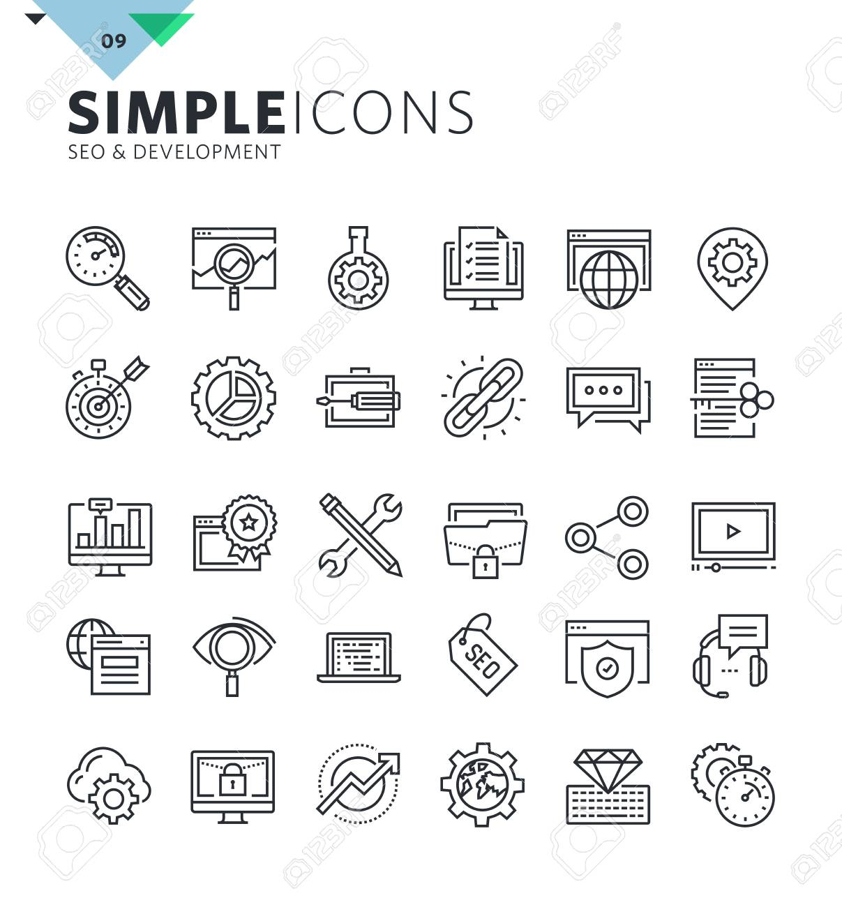 Modern thin line icons of SEO and web development. Premium quality outline symbol collection for web and graphic design, mobile app. Mono linear pictograms, infographics and web elements pack. - 60381071