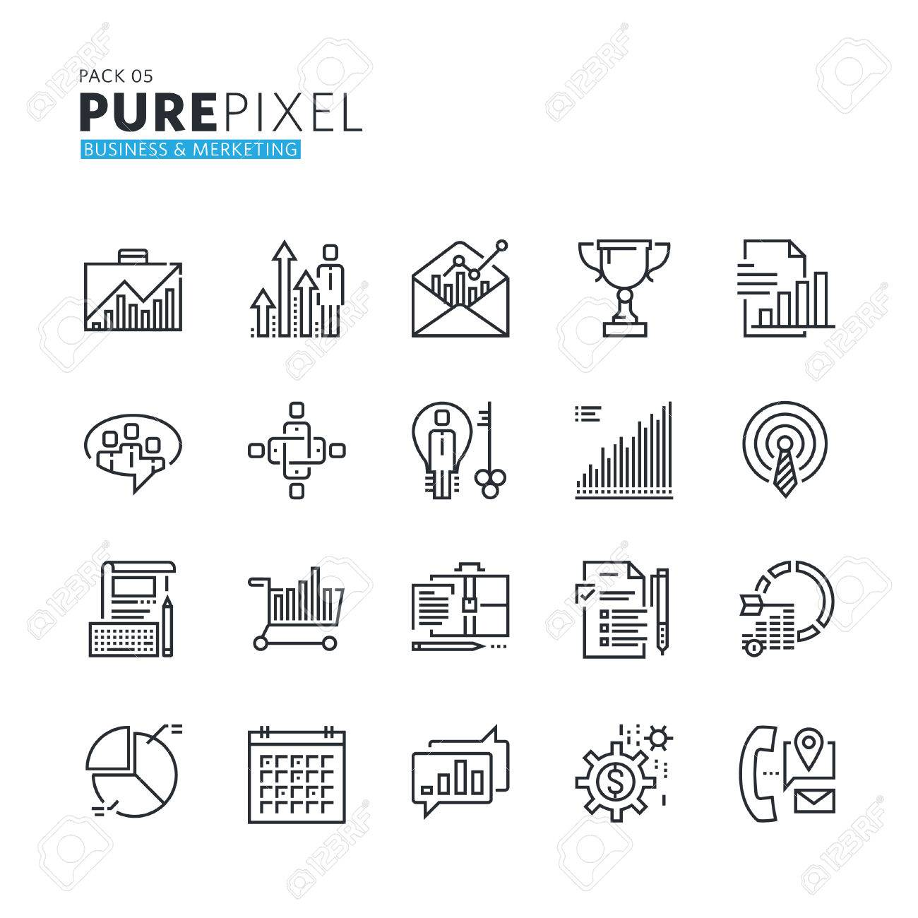 Set of modern thin line pixel perfect icons of business and marketing. Premium quality icon collection for web design, mobile app, graphic design. - 60381125