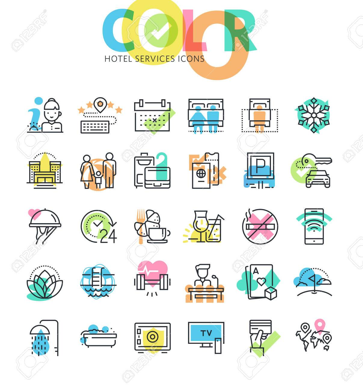 Flat line icons set of hotel booking, accommodation, hotel services and facilities. Modern design icons for web and app design and development. - 61527861