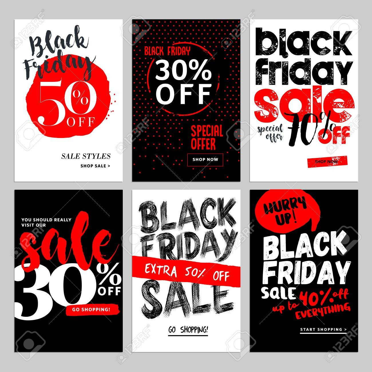 Set of mobile sale banners. Black Friday sale banners. Vector illustrations of online shopping website and mobile website banners, posters, newsletter designs, ads, coupons, social media banners. - 66002992