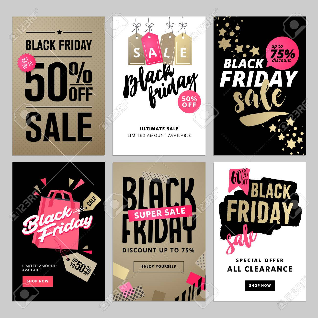 Set of mobile sale banners. Black Friday sale banners. Vector illustrations of online shopping website and mobile website banners, posters, newsletter designs, ads, coupons, social media banners. - 66002997