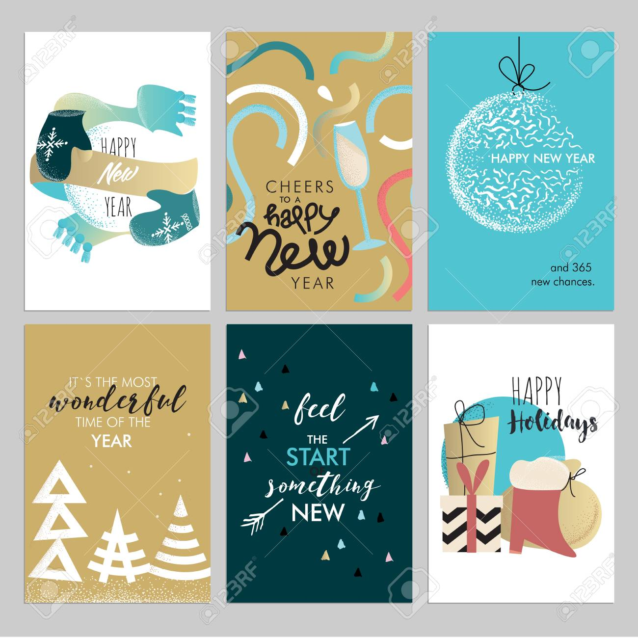 Christmas and new year vintage greeting cards set hand drawn christmas and new year vintage greeting cards set hand drawn vector illustrations for greeting cards m4hsunfo