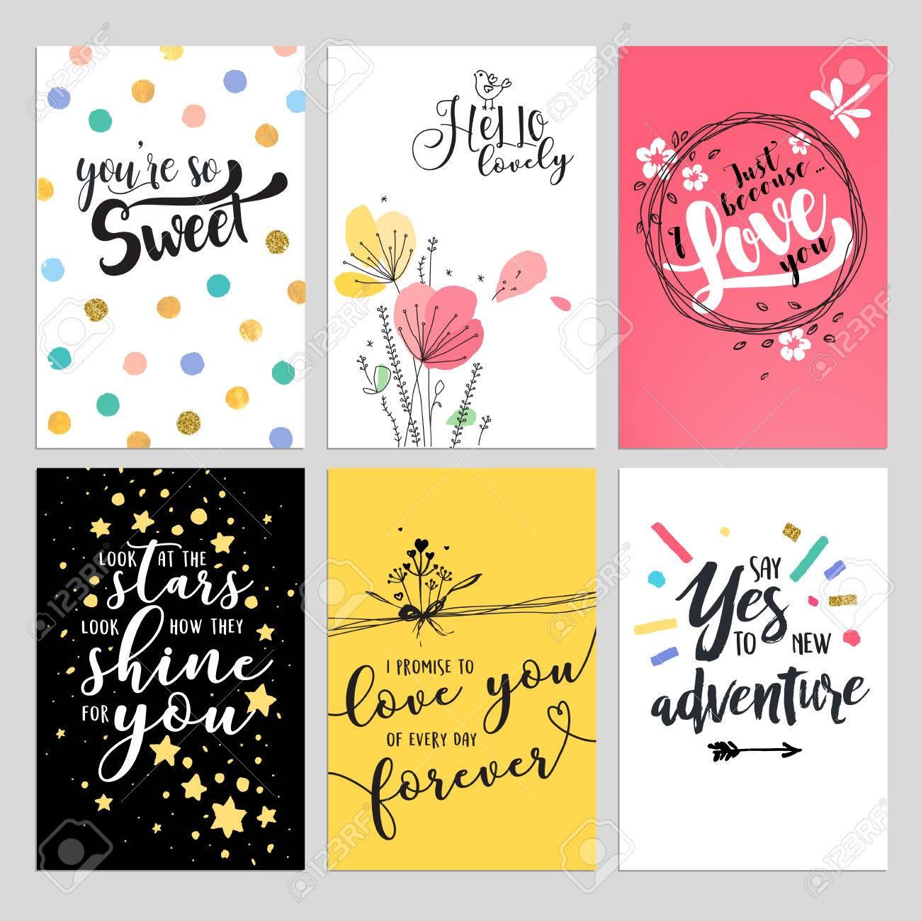 Set Valentinstag Grußkarten. Flache Design Vektor Illustrationen Für ...