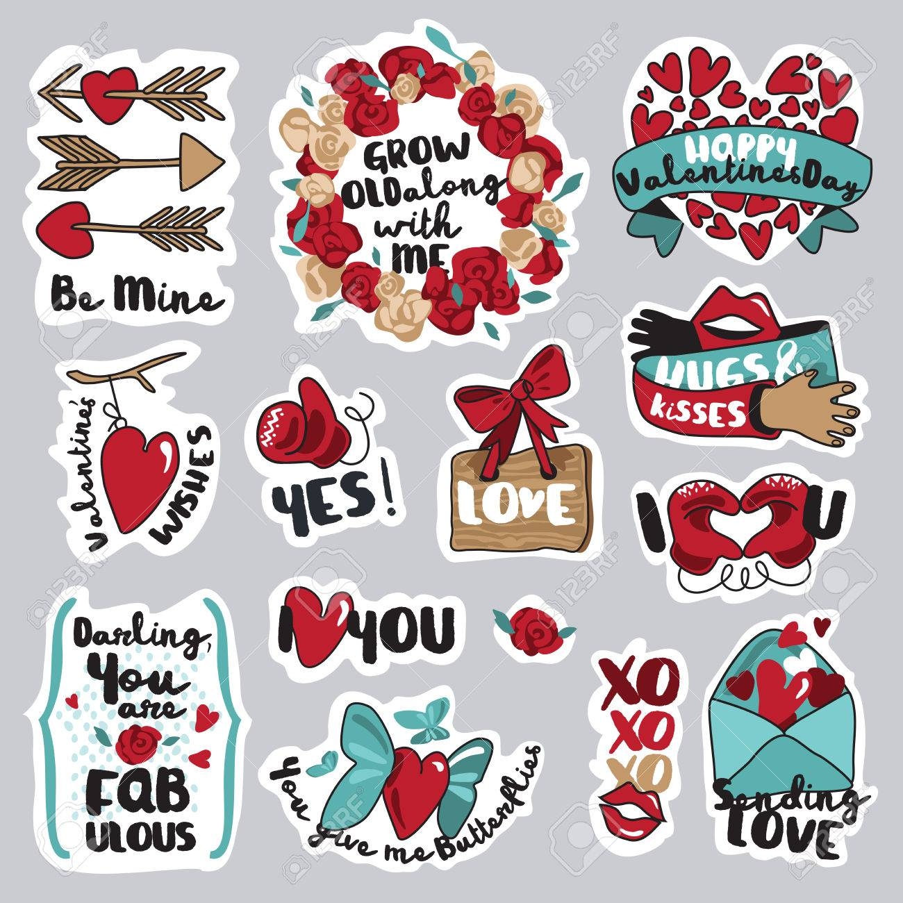 set of love stickers for social network. sweet and funny stickers